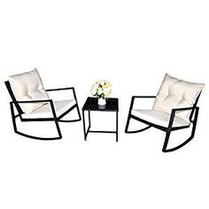 Kozyard Moana Outdoor Rocking Wicker Bistro Set, Two Chairs and One Glass Coffee Table, Black Wicker Furniture(Taupe Cushion+Red Stripe Pillow) White Wicker Furniture, Outdoor Wicker Patio Furniture, Patio Furniture Sets, Outdoor Chairs, Outdoor Balcony, Furniture Decor, Wicker Coffee Table, Wicker Dining Set, Wicker Chairs