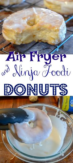Ninja Foodi Air Fryer donuts are warm, flaky, and made in a hurry! Grab that can of biscuit dough and let's create quick and easy homemade donuts to curb Air Fry Donuts, Fried Donuts, Canned Biscuit Donuts, Canned Biscuits, Homemade Donuts, Homemade Biscuits, Easy Dinner Recipes, Dessert Recipes, Salad Recipes