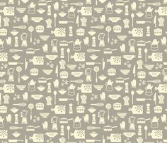 kitchen culture taupe fabric by amel24 on Spoonflower - custom fabric