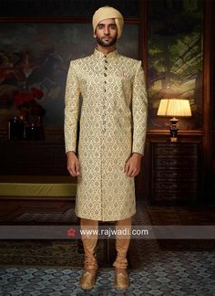 Latest Brocade Silk Sherwani for Wedding Season Raw Silk Fabric, Brocade Fabric, Pista Green Colour, Lehenga Choli, Saree, Sherwani Groom, Fancy Buttons, Indian Groom, Cotton Silk