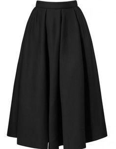 833b90ea8b7 Lanvin Black Pleated Cottonramie Full Midiskirt Mid Length Skirts