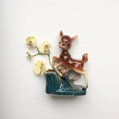 Vintage midcentury bambi deer fawn posy spill by GalabeerandtheDog