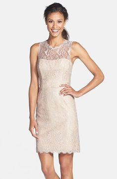 Jim Hjelm Occasions Lace Sheath Dress available at #Nordstrom Possible bridesmaid dress.. I like the back.