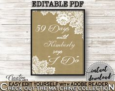 Burlap And Lace Bridal Shower Days Until I Do in Brown And Tan, wedding count down, burlap lace, prints, digital print, printables - NR0BX #bridalshower #bride-to-be #bridetobe