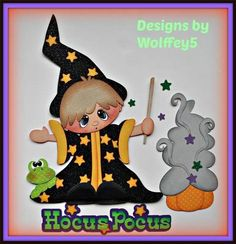 ELITE4U WIZARD BOY paper piecing premade scrapbook page album border WOLFFEY5