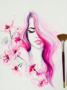 Cherry Blossom Fashion Art Fashion Illustration Fashion Blossom Beauty Original Watercolor by Lana Moes Pink Art Watercolor Fashion, Watercolor Print, Watercolor Paintings, Pink Painting, Fashion Painting, Pencil Art Drawings, Art Drawings Sketches, Art And Illustration, Illustration Fashion