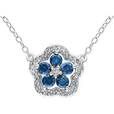 """1/2 Carat T.W. Blue and White Diamond Sterling Silver Flower Necklace, 16"""""""