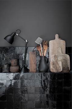 Beautiful black tiles against black wall in a kitchen really sets off the wooden tools. Someone speculated these are Zellige tiles. Kitchen Interior, Interior And Exterior, Interior Office, Dcw Editions, Interior Styling, Interior Design, Luxury Interior, Classic Interior, French Interior