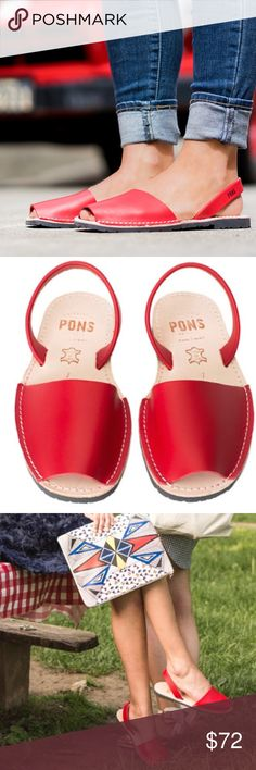 PONS Avarcas size 9 Brand new. Never worn. New without box. Size 9 but can fit 8.5-9. Cherry red color. There is a little speck on the front of the right shoe but was purchased that way. Durable and versatile, these Spanish sandals are crafted by local artisans in Menorca from the finest all natural leather and have a comfortable rubber sole. Grab passerby's attention when you pair them with a t-shirt & jeans or let them complete the perfect nautical look. PONS Shoes Sandals