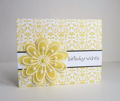 handmade birthday card: Yellow by Stampin Sue ... layered vellum flower ... yellow with white embossing and pearls ... pretty antique flower background also inked in yellow ... like the bright and cheery look ...