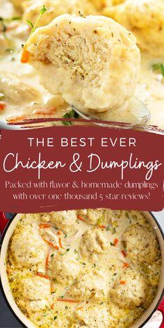 Homemade Chicken And Dumplings, Chicken Dumpling Soup, Dumpling Recipe, Dumplings For Soup, Best Chicken Soup Recipe, Homeade Soup, Crockpot Dumplings, Bread Dumplings Recipes, Easy Homemade Soups