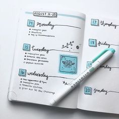 40 Bullet Journal Weekly Spreads to Explore - Simple Life of a Lady - horizontal weekly layout – bluish - Bullet Journal Page, Bullet Journal Writing, Bullet Journal Weekly Layout, Bullet Journal Tracker, Bullet Journal School, Bullet Journal Aesthetic, Bullet Journal Themes, Bullet Journal Spread, Bullet Journal Inspo