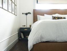 New bedroom window headboard roman shades ideas Moulding And Millwork, Window Headboard, Bamboo Roman Shades, White Hallway, Bedroom Windows, House Windows, Upholstered Beds, Cozy Bed, Trendy Bedroom