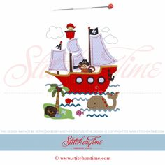 pirate monkey and ship