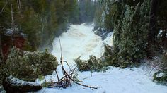 Ragged Falls is seriously flooded from spring run off from Algonquin Park.  Oxtongue River - Ontario - April 20 2013