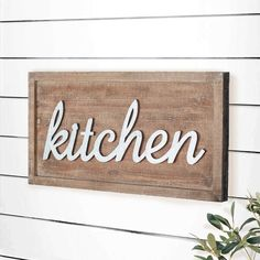 """If your kitchen is much need of a new accent piece, our Weathered Wooden """"Kitchen"""" Sign is exactly what you're looking for! For more wall decor and wall art please visit, www.decorsteals.com OR www.facebook.com/decorsteals"""