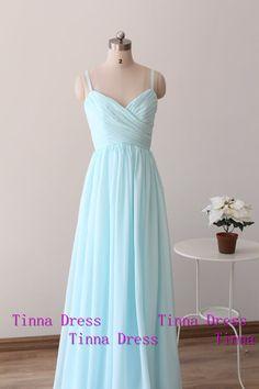 Elegant light blue long Prom dress prom dresses with by TinnaDress