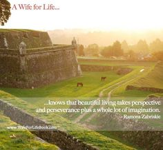 """""""A wife for life knows that beautiful living takes perspective and perseverance plus a whole lot of imagination.""""-Ramona Zabriskie This website is full of awesome inspiration for young wives and wives to be. Author Ramona Zabriskie mentors young women through the ups and downs of relationships with humor, grace, and lots of love! If you want real life romance, join the movement, read the book and become a WIFE FOR LIFE!"""
