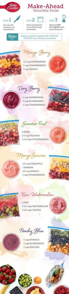 Don't have time to make #smoothies in the morning? Well then this is perfect for you! These make-ahead smoothie packs will completely change your mornings for the better. Just pre-pack the ingredients and keep them in the freezer until you are ready to po by millicent