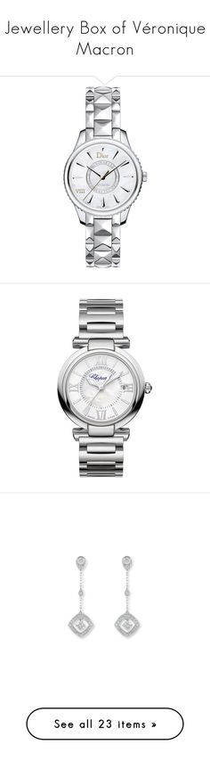 """""""Jewellery Box of Véronique Macron"""" by dames-de-france ❤ liked on Polyvore featuring jewelry, watches, analog wrist watch, skeleton watches, skeleton jewelry, christian dior watches, crown jewelry, stainless steel watch bracelet, stainless steel jewelry and watch bracelet"""