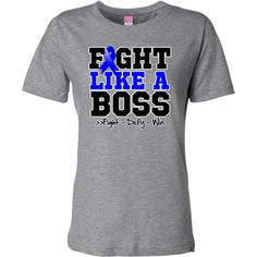 Rectal Cancer Fight Like a Boss shirts, apparel, tees and gifts featuring a sporty design with an awareness ribbon and the powerful motto: fight, defy and win.To fight like a boss is to own it with confidence and perseverance like a boss by awarenessribboncolors.com #fightlikeaboss #rectalcancerawareness #rectalcancershirts