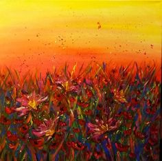 Dancing flowers in the sunset - Original painting by EmmaJLock