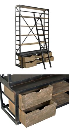 Ever been in a really cool library and wished you could have one of those rolling ladders for yourself? Well now you can. The Crestwell Library is an industrial-inspired design that brings the retro-ch...  Find the Crestwell Library with Ladder, as seen in the Bookcases Collection at http://dotandbo.com/category/furniture/bookcases-and-cabinets/bookcases?utm_source=pinterest&utm_medium=organic&db_sku=113714