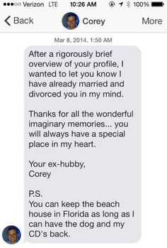 That time someone was engaged, married, and divorced to, all in one message.