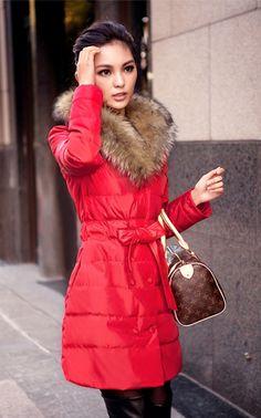 2016 Trends Women's Winter Coat Double Breasted Raccoon Fur Collar Down Jacket