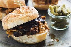 Who doesn't love pulled pork? This pulled pork sandwich recipe features perfect fork-tender meat after long, slow cooking. Serve with tangy coleslaw for a match made in heaven. Kraft Recipes, Pork Recipes, Slow Cooker Recipes, Crockpot Recipes, Cooking Recipes, Burger Recipes, Yummy Recipes, Recipies, Yummy Food