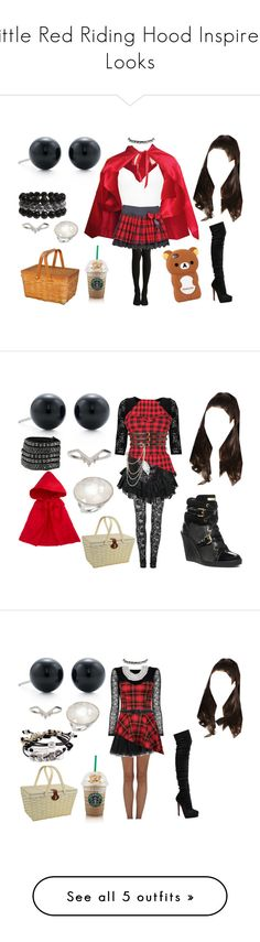 """""""Little Red Riding Hood Inspired Looks"""" by arianagrandeonfleek ❤ liked on Polyvore featuring Tiffany & Co., BKE, Flore, Topshop, Ippolita, Christian Louboutin, LittleRedRidingHood, cosplay, RedRidingHood and Rodarte"""