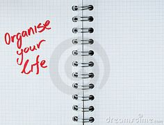 Organize your life -note in notebook. Personal message in notebook