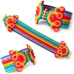 Bracelet Multicolor RAINBOW soutache statement por SaboDesign