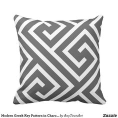 Modern Greek Key Pattern in Charcoal and White Throw Pillow