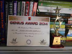 Genius Award - Dinesh Upadhyaya : Genius Award to Dinesh Upadhyaya for his world record achievements | dineshupadhyaya