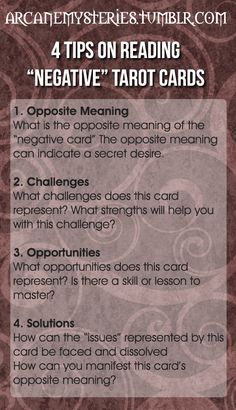 "Four Tips On Reading ""Negative"" Tarot Cards."