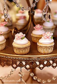 petit couture cupcakes on crystal tear drop tower Pretty Cupcakes, Beautiful Cupcakes, Fun Cupcakes, Cupcake Cookies, Elegant Cupcakes, Small Cupcakes, Cupcake Art, Wedding Cupcakes, Cupcake Heaven