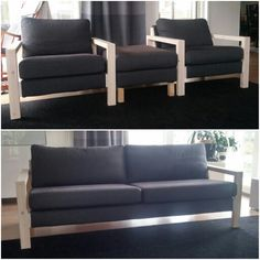 Ikea Karlstad sofa and armchair armrests hacked. Made out of pine and 2 coats of lacquer with a hint of white.