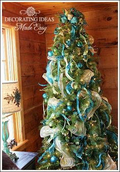 Blue gold silver ribbon christmas tree