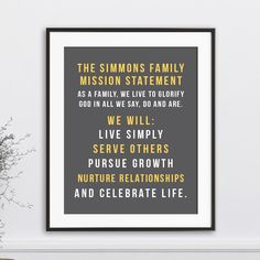 Family Mission Statement, Personalized Family Rules Wall Art, Family Name Sign, Christian Family Rules Family Motto, Family Rules, Family Name Signs, Songs With A Message, Message Song, Family Mission Statements, Word Poster, Christian Families, Christen