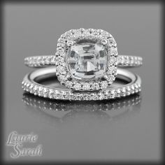 cushion cut engagement ring and wedding band set