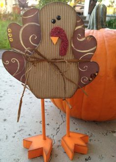 Cute Wooden Turkey!  #turkey #thanksgiving #scrapbook #etsy #craft #wooden #decoration