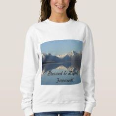 Shop Blessed & Highly Favored Sweater created by Christiangiftsca. Christian Apparel, Christian Clothing, Christian Gifts, Girls Sweaters, Sweaters For Women, Hoodies, Sweatshirts, Unique Gifts, Blessed
