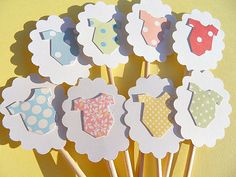 Cupcake Toppers  Baby Shower Cupcake Toppers  Baby by suziescards