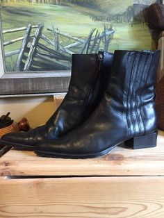 Baldinini Boots Women's Size 38 Black Leather Ankle Point Toe Stretch Side Italy    eBay