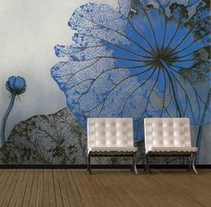 Living Room Interior Designs with Flowers Painting Murals Ideas
