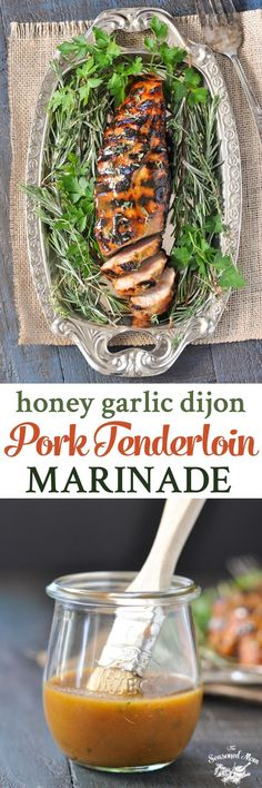 This Honey Garlic Dijon Pork Tenderloin Marinade is an easy, quick-prep dinner idea! #pork #dinner #grilling