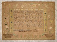 EXQUISITE EARLY 19Thc AMERICAN SAMPLER 1811 ANN SOUTHER, HAVERHILL SILK ON LINEN