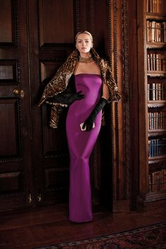 Ralph Lauren Collection Fall 2012.  Love the animal accent with this berry purple