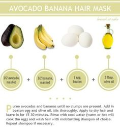 DIY Hair Mask of Avacado, Banana, Egg, and Olive Oil. Healthy hair tips Banana Hair Mask, Banana For Hair, Natural Hair Care, Natural Hair Styles, Natural Beauty, Big Chop Natural Hair, Natural Skin, Avocado Hair, Avocado Face Mask